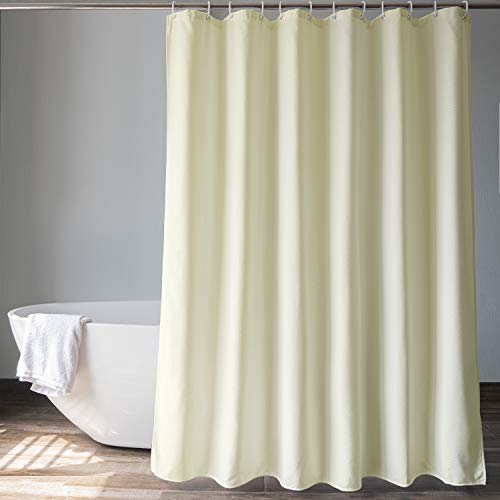 EurCross Cream Waffle Weave Fabric Shower Curtain 72 x 72 inch, Heavyweight, Water-Repellent Bathroom Shower Curtain, Standard Size 6ft Wide by 6ft Long