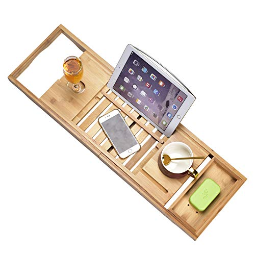 Luxury Bathtub Caddy Tray,Bamboo Bathtub Tray Caddy - Wood Bath Tray Expandable,Can be Placed Book and Integrated Tablet Smartphone and Wine Holder - Gift Idea for Loved Ones