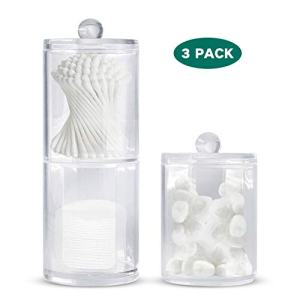 Bathroom Organizer Canisters,Apothecary Jars Set,Qtip Holder with Lids,Cotton Pad Container,Plastic Acrylic Clear Vanity Dispenser for Cotton Ball,Cotton Swab,Cotton Rounds,Bath Salts,3 Pack