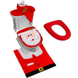 D-FantiX 3D Nose Santa Toilet Seat Cover Funny Christmas Decorations Bathroom Set of 5
