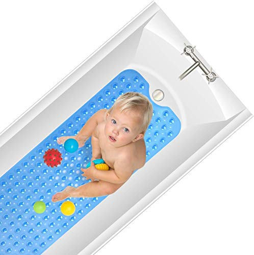 Yueetc Bathtub Mat Non Slip, 35 x 16 inch Extra Soft and Absorbent, Machine Washable, Perfect Shower Bath Mats for tub (Blue, 35X16in)