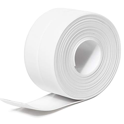 "Tintvent Tape Caulk,Tub Caulking Tape,Caulk Strip PVC Self Adhesive Repai Tape for Bathtub Kitchen Sink Basin Edge Shower Toilet and Wall Mildew Sealing Tape(1-1/2"" x 11' White)"