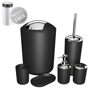 Bathroom Set 6 Pieces Plastic Bathroom Accessories Set Ensemble Set Toothbrush Holder,Toothbrush Cup,Soap Dish,Lotion Dispenser,Toilet Brush with Holder,Trash Can with Drawstring Garbage Bags (Black)