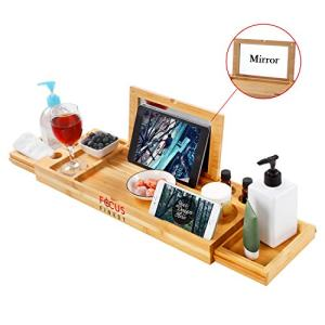 Fox Flower Bath Tray for Tub, Adjustable Bathtub Tray with Extending Side,Bathtub Caddy with Mirror, Book Tablet, Wineglass Holder and Towel Holder, Bamboo