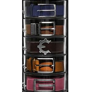 ELYPRO Belt Organizer - Acrylic Organizer and Display for Accessories like Belts, Jewelry, Watch Case, Cosmetics, Makeup Organizer, Bow Ties, Bracelets, Crafts, Toys. Compact Closet Organizer