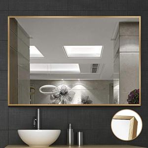 """NeuType Large Wall Mounted Mirrors for Bathroom Bedroom Living Room, Vanity Mirror, Brushed Aluminum Alloy Thin Frame, Burst-Proof Glass, Horizontal or Vertical Hanging, 36""""x24"""", Gold"""