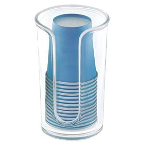 mDesign Modern Plastic Compact Small Disposable Paper Cup Dispenser - Storage Holder for Rinsing Cups on Bathroom Vanity Countertops, Cups Included - Clear