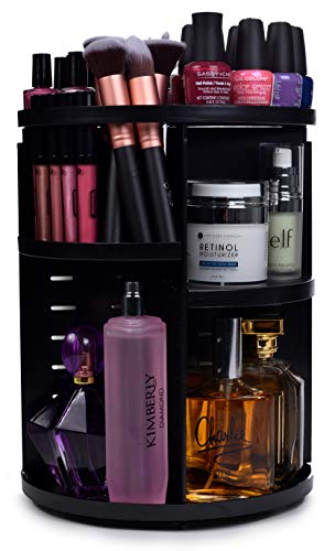 360 Rotating Makeup Organizer - Adjustable Shelf Height and Fully Rotatable. The Perfect Cosmetic Organizer for Bedroom Dresser or Vanity Countertop. (Black)