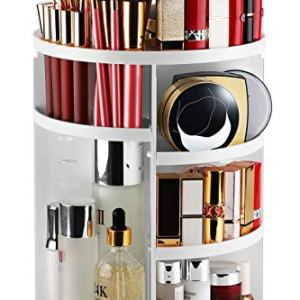 Syntus 360 Rotating Makeup Organizer, DIY Adjustable Bathroom Makeup Carousel Spinning Holder Rack, Large Capacity Cosmetics Storage Box Vanity Shelf Countertop, Fits Makeup Brushes, Lipsticks, White