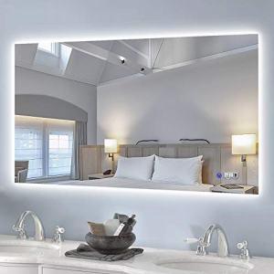 "Keonjinn 40""x 24"" Backlit Bathroom Mirror Wall Mounted Anti-Fog Makeup Mirror with LED Light Over Vanity (Horizontal/Vertical)"