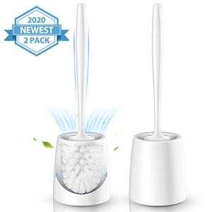 Homemaxs Toilet Brush and Holder,【2020 Upgraded】 Modern Design Toilet Brush 2 Pack with 5 inch Enlarged Stable Bottom & Extended Ergonomic Handle,White Toilet Bowl Brush for Your Bathroom Toilet