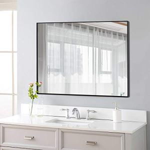 "NeuType Rectangular Hanging Mirror Wall Mirror for Bathrooms, Entryways, Living Rooms and More (38"" x 26"", Black (Thin Frame))"
