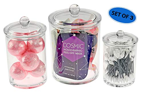 Home-X Set of 3 Apothecary Jars, Cotton Ball & Swabs Holder, Bathroom Storage, Crystal Clear Acrylic Container with Lid-24 oz.-12 oz.-5 oz