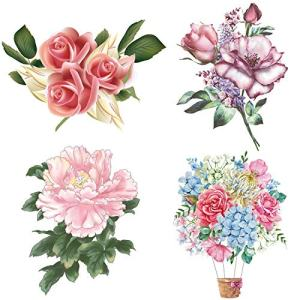 4Pcs/Set Rose Peony Lavender Beauty Flowers Decals Flower Wall Stickers Waterproof Vinyl Self Adhesive Removable Art Murals for Living Room Bedroom Toilet Restroom House DIY Decoration