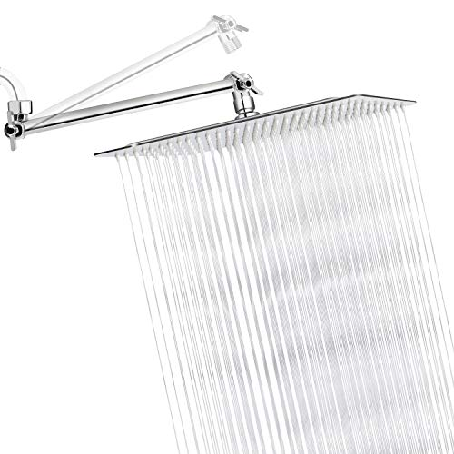 Sooreally 12 Inch Square Rain Shower Head High Pressure Rainfall Showerhead with 11 Inch Adjustable Extension Arm, Stainless Steel Chrome Finish, 12 Inch Large Waterfall Full Body Coverage