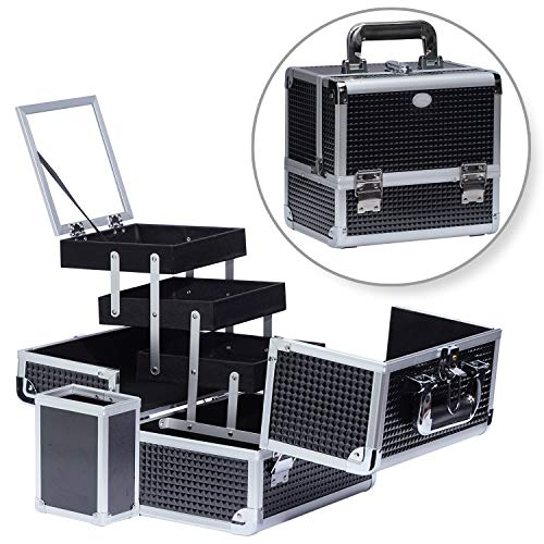 Joligrace Makeup Train Case Professional Cosmetic Box Travel Organizer with Mirror & Lock Black Pattern