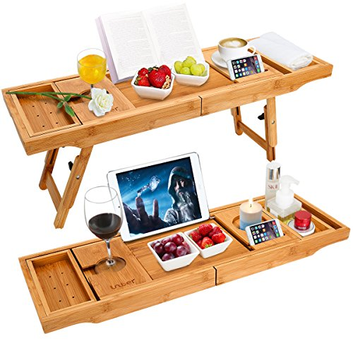 Wooden-Life Bathtub Caddy Tray& Laptop Desk with Foldable Legs, 2 in 1 Wisdom Design – Luxurious Bathtub Caddy with Extending Sides, Tablet Holder, Reading Rack,Cellphone Tray and Wine Glass Holder
