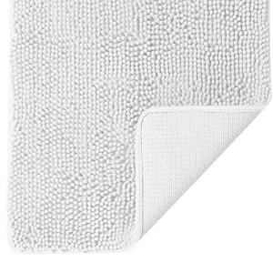 BEDELITE Non Slip Shaggy Chenille Bathroom Rugs 17x24 Inches, Extra Soft and Water-Absorbent Microfibers Carpet, Machine Washable Bath Mat for Bathtub, Shower, and Bath Room, Bright White