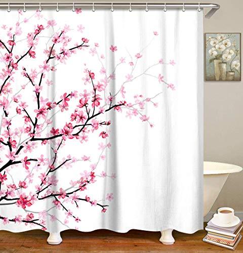 "LIVILAN Pink Floral Bathroom Curtain Cherry Blossom Shower Curtain Set with 12 Hooks, Flower Fabric Bath Curtain Bathroom Decor, Machine Washable, White 72"" X 72"""