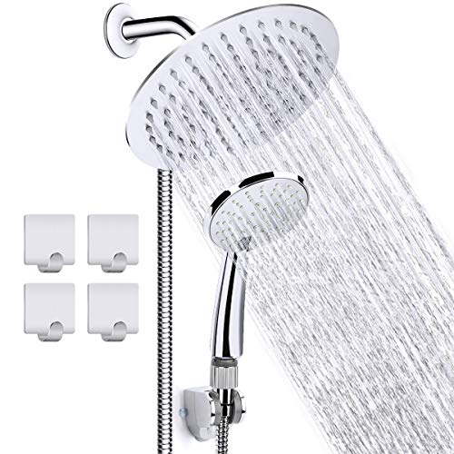 CHAREADA 8 inch High Pressure Shower Head Stainless Steel Rainfall 3 Settings Handheld Shower Head Combo with 60'' Hose – Chrome Finish With Strong Suction Holder Flow Regulator 4 Shower Hooks