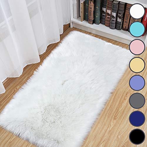 junovo Luxury Fluffy Area Rugs Furry Rug for Bedroom Faux Fur Sheepskin Nursery Rugs Fur Carpet for Kids Room Living Room Home Decor Floor Mat, 2ft x 4ft White