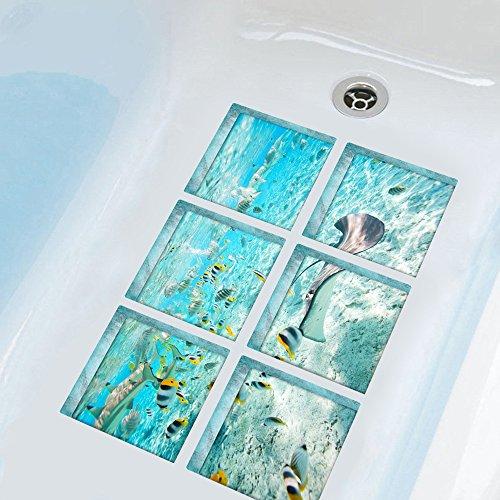 """ChezMax The Underwater World Bath Treads Sticker Safety Decals Non Slip Bath Tub Tattoos Tub Stickers Tub Decals Non Slip Bathtub Stickers Tub Appliques 6 Pcs 5.9"""" X 5.9"""""""