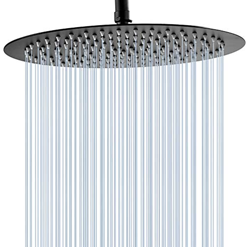 GGStudy 12 Inches Round Rain Shower head Large Stainless Steel High Pressure Shower Head,Ultra Thin Rainfall Bath Shower 1/2 Connection Oil Rubbed Bronze Black Shower Head