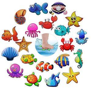 Hangnuo Non-slip Bathtub Stickers, 20 Set Sea Creatures Anti Slip Decals Safety Adhesive Appliques for Baby Bath Tub