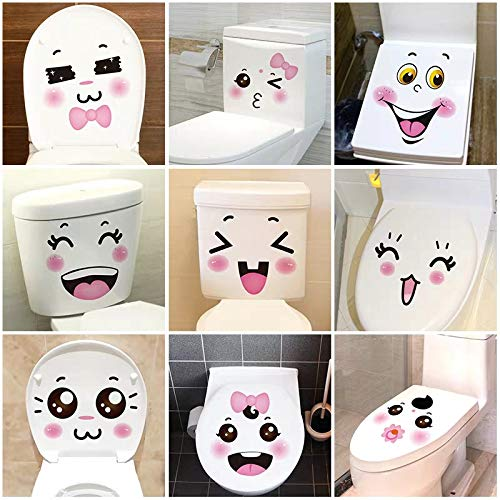 MINENA Bathroom Toilet Lid Stickers Funny Smiley Pattern Wall Stickers-Toilet Lid Decals Pregnant Woman Big Belly Stickers
