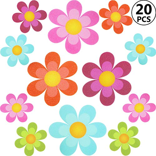 Non slip Bathtub Stickers Adhesive Decals with Bright Colors, Daisy Bath Treads and Anti-Slip Appliques for Bath Tub, Stairs, Shower Room and Other Slippery Surfaces (20 Pieces, Colourful Flower)