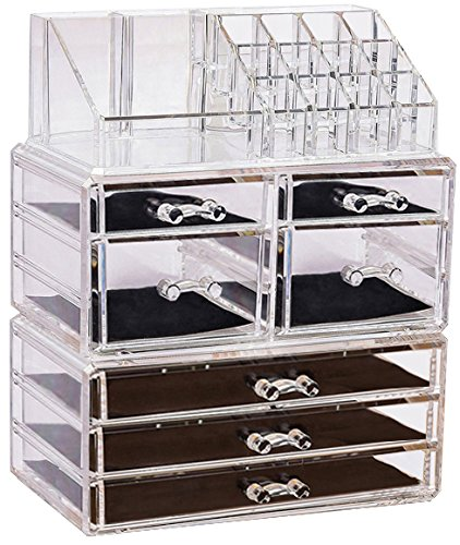 Sooyee Acrylic Cosmetic Display Cases 6 Tiers 7 Drawers, 16 Grid Lipstick and Makeup Brush Holder, Cube Makeup and Jewelry Organizer Box,Clear,3 Pieces Set