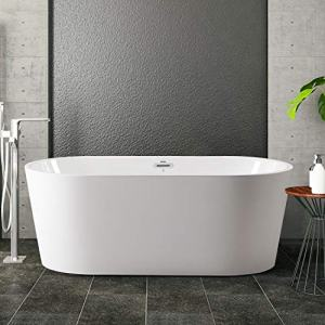"FerdY 59"" Freestanding Bathtub, F-0522 Classic Oval Shape Acrylic freestanding tub Modern White, cUPC Certified, Drain & Overflow Assembly Included"