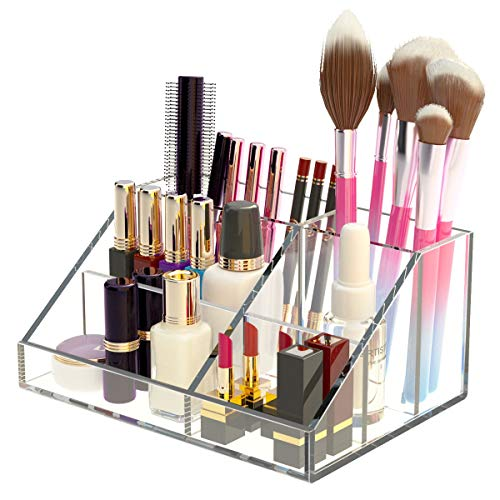 AITEE Makeup Organizer, Acrylic Makeup Storage Countertop for Bathroom/Vanity/Desk/Bedroom, Clear Cosmetic Display Case with Six Divided Slots, Great for Jewelry/Lipstick/Makeup Brush