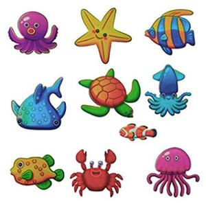 DecentGadget 20pcs Non-Slip Marine Creatures Stickers Bathtub Dress up Baby Shower Decals Adhesive Appliques for Refrigerators, Windows, Bathtub and Other Smooth Surfaces Decoration