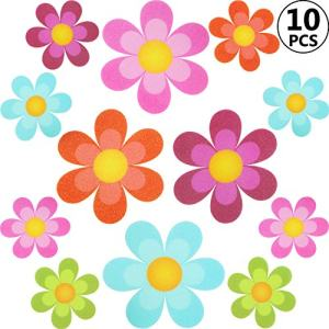 Non Slip Bathtub Stickers Adhesive Decals with Bright Colors, Daisy Bath Treads and Anti-Slip Appliques for Bath Tub, Stairs, Shower Room and Other Slippery Surfaces (10 Pieces, Colourful Flower)