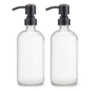 AmazerBath 2-Pack Soap Dispensers, 16 OZ Clear Glass Soap Bottles with Stainless Steel Pump Hand Soap Lotion Dispensers for Bathroom and Kitchen (Oil-Rubbed Bronze)