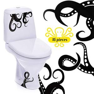 15 Pieces Kraken Octopus Toilet Decor Sticker Octopus Toilet Home Decal Black Sea Creature Wall Art Sticker Tentacles Bathroom Kraken Decal for Toilet Seat