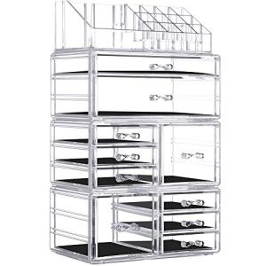 InnSweet Acrylic Makeup Organizer Cosmetic Storage Drawers and Jewelry Display Box, Large Capacity Makeup Holders with 10 Drawers