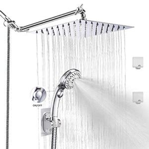 LOHNER Rainfall Shower Head Kit with Hose, Luxurious Stainless Steel 8'' Rain Showerhead and 5 Settings Handheld Combo with Push Button Flow Control, with Adjustable Shower Arm (Square Shower Set)