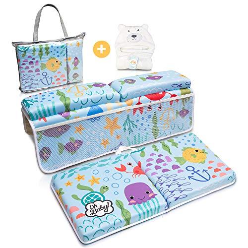 Bath Kneeler and Elbow Rest Pad | Baby Bath Kneeler and Bath Elbow Saver | Bath Kneeler Baby Bathtub Cushion | Bonus Hooded Baby Towel - by Oh Baby!
