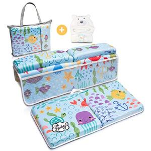 Bath Kneeler and Elbow Rest Pad | Baby Bath Kneeler and Bath Elbow Saver | Bath Kneeler Baby Bathtub Cushion | Bonus Hooded Baby Towel - by Oh Baby!