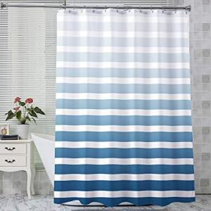 AmazerBath Fabric Shower Curtain, Blue Gradient Stripe Polyester Fabric Shower Curtains Decorative Curtains for Bathroom Hotel Quality, 72 X 72 Inches