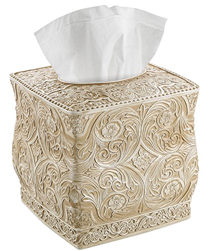 Creative Scents Square Tissue Box Cover – Decorative Bathroom Tissue Holder is Finished in Beautiful Victoria Collection for Cute Elegant Bathroom Decor (Beige)
