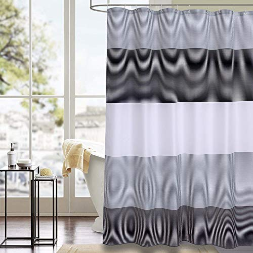 Julifo Shower Curtain Black and Grey Polyester Fabric Bathroom Curtain Waterproof Thick Shower Curtains,72 X 72 INCH (Black & Grey)