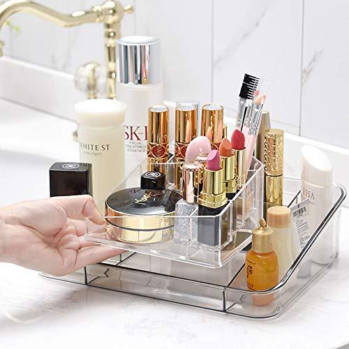 LAIBUY 2 Pack Makeup Organizer Tray Durable Cosmetic Display Case Storage Box for Nail Polish, Lipsticks,Creams, Lotions, Makeup Brushes, Eye Shadow, Bathroom Bedroom Dresser Vanity (Gray)