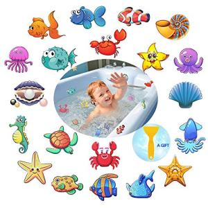 PASNOWFU Waterproof and Non-Slip Bathtub Stickers,Marine Organism Decal Treads, Adhesive Bathroom Shower Safety Appliques for Baby Kids Bath Tub,20 Set