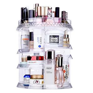 Miserwe Makeup Organizer 360 Degree Rotation 7 Layers Adjustable Storage Different Kinds of Cosmetics Multi-Function Large Capacity Makeup Storage Organizer Great for Bathroom Dresser Vanity