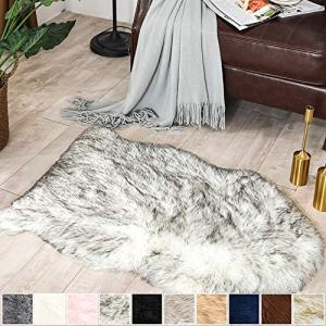 Carvapet Luxury Soft Faux Sheepskin Chair Cover Seat Pad Plush Fur Area Rugs for Bedroom, 2ft x 3ft, Black/White
