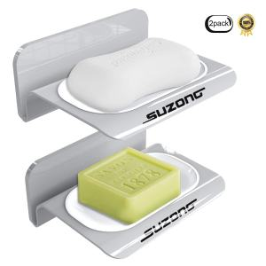 geekboy Soap Dish with Drainning Tray, Soap Dish for Shower Wall Mounted No Drilling Sunction Soap Holder Bath Box Saver Soap Dish for Bathroom Kitchen Sink and Tub, Pack of 2