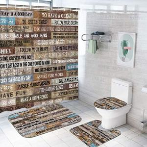 TAMOC 4 Pcs Inspirational Quotes Shower Curtain Set with Non-Slip Rug, Toilet Lid Cover and Bath Mat, Vintage Rustic Shower Curtain with 12 Hooks, Waterproof Wooden Poster Bathroom Curtain, Brown